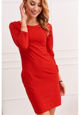 Mini šaty s dlouhými rukávy, červené