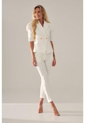 Oversize top s ¾ rukávy a asymetrickým střihem, bledě