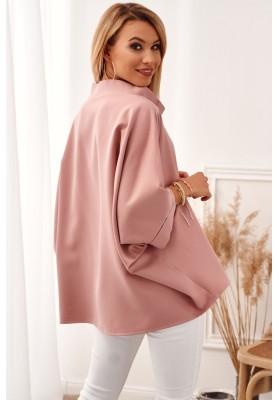 Oversize top s ¾ rukávy a asymetrickým střihem, růžový