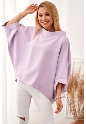 Oversize top s ¾ rukávy a asymetrickým střihem, fialový