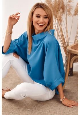 Oversize top s ¾ rukávy a asymetrickým střihem, modrý
