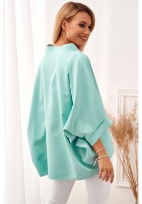 Oversize top s ¾ rukávy a asymetrickým střihem, zelený