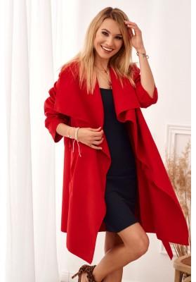 Stylový, červený kabát s velkolepým širokým límcem