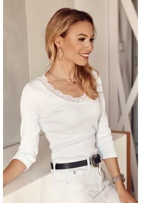 Nadčasové, bílé tričko s ¾ rukávem