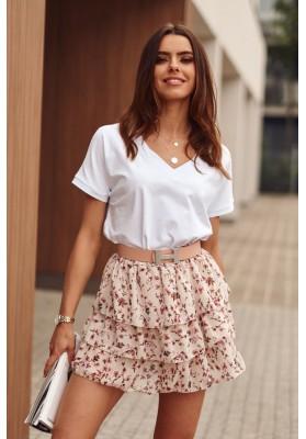 Jednoduché volné tričko s krátkým rukávem a V- výstřihem, bílé