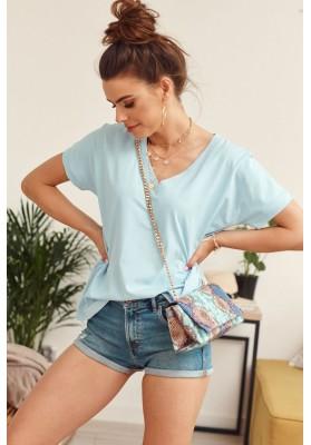 Jednoduché volné tričko s krátkým rukávem a V- výstřihem, modré