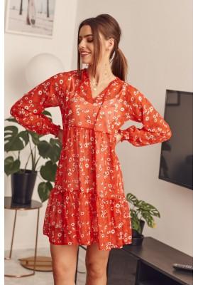 Květinové šaty s dlouhým rukávem, červené