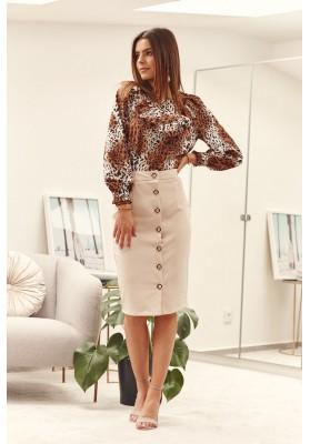 Sukně z polyesteru s malým rozparkem a knoflíčky, béžová