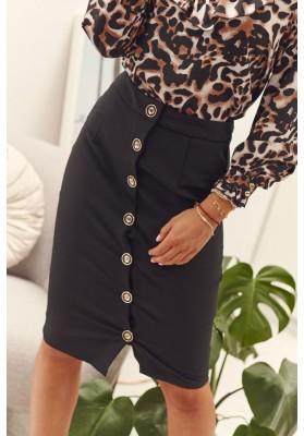 Sukně z polyesteru s malým rozparkem a knoflíčky, černá