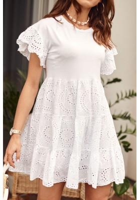 Bílé bavlněné šaty s kulatým výstřihem