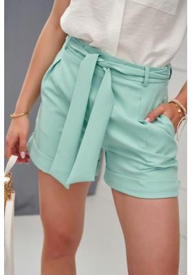Elegantní krátké šortky s bočními kapsami a vázáním v pase, zelené