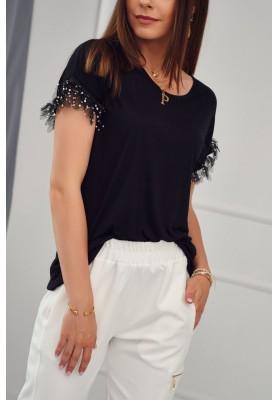Prodloužené, černé, moderní tričko s krátkým rukávem