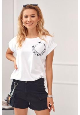 Tričko s potiskem letícího letadla, bílé