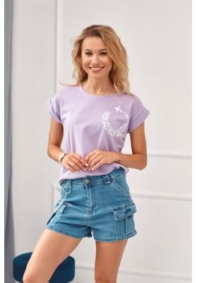 Tričko s potiskem letícího letadla, fialové