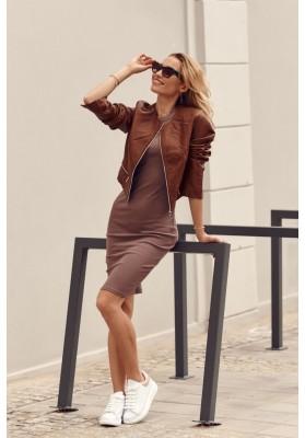 Fantastické, jednoduché šaty s krátkými rukávy, hnědé
