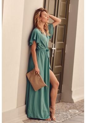 Maxi šaty s vysokým rozparkem na bocích, tmavozelené
