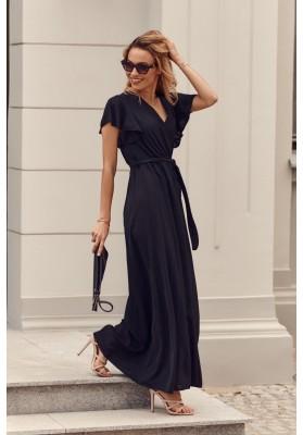 Maxi šaty s vysokým rozparkem na bocích, černé