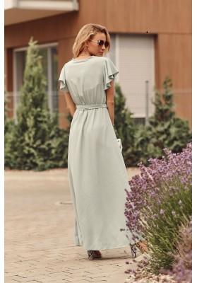 Maxi šaty s vysokým rozparkem na bocích, zelené