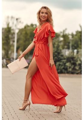 Maxi šaty s vysokým rozparkem na bocích, oranžové