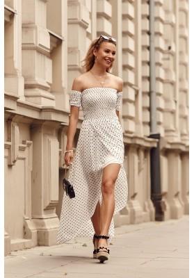 Asymetrické šaty s prodlouženým zadním dílem, krémové