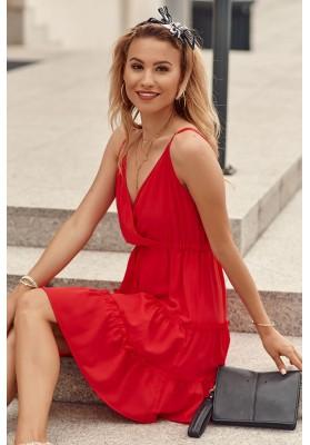 Jemné šaty s V výstřihem na tenkých nastavitelných ramínkách, červené