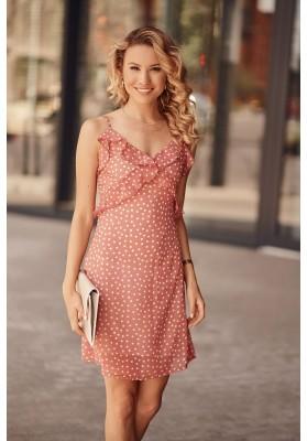 Letní šaty na tenká ramínka s ozdobným volánem v oblasti poprsí, růžové