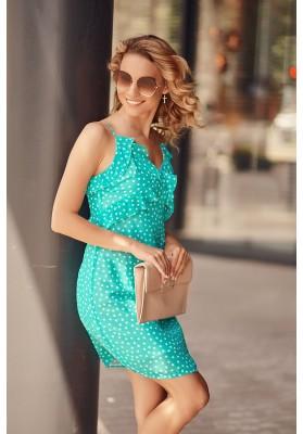 Letní šaty na tenká ramínka s ozdobným volánem v oblasti poprsí, modré
