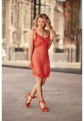 Letní šaty na tenká ramínka s ozdobným volánem v oblasti poprsí, červené