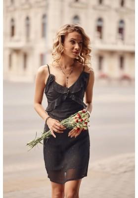 Letní šaty na tenká ramínka s ozdobným volánem v oblasti poprsí, černé