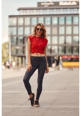 Moderní, černé kalhoty s gumou v pase