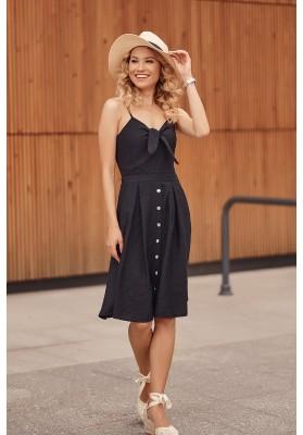 Šaty na tenká ramínka s V výstřihem ozdobeným vázáním, černé