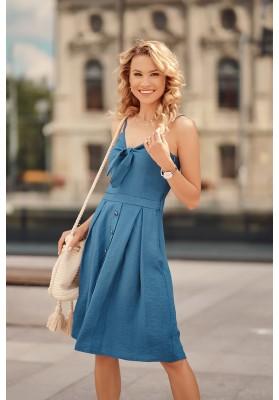 Šaty na tenká ramínka s V výstřihem ozdobeným vázáním, modré
