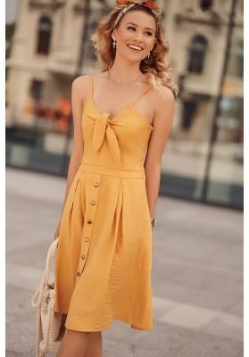 Šaty na tenká ramínka s V výstřihem ozdobeným vázáním, žluté