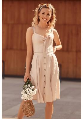 Šaty na tenká ramínka s V výstřihem ozdobeným vázáním, béžové