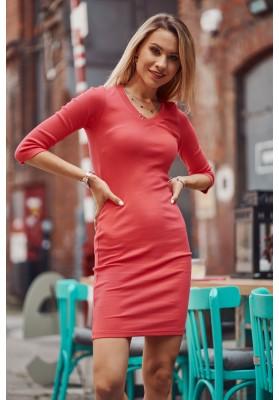 Bavlněné šaty s výstřihem ve tvaru V a ¾ rukávy, růžové