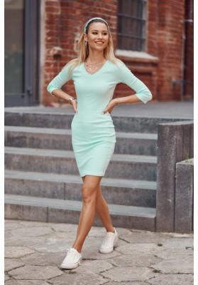Bavlněné šaty s výstřihem ve tvaru V a ¾ rukávy, zelené