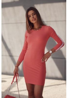 Hladké šaty s ozdobnými pruhy na rukávech, oranžové