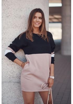 Zateplená tunika / šaty s dlouhými rukávy, lemem a kapsami, černá