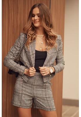 Krátké dámské sako s károvaným vzorem, černé