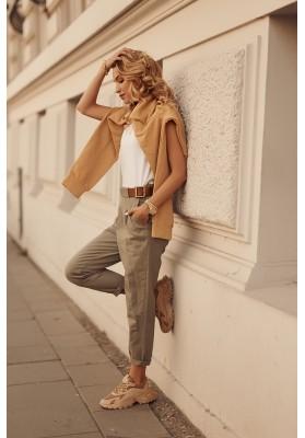 Módní kalhoty volného střihu, khaki