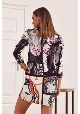 Černobílé velurové šaty oversize střihu