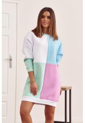 Bavlněná tunika s barevnými vsadkami as půlkruhovým výstřihem, bílá