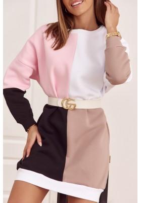 Bavlněná tunika s barevnými vsadkami as půlkruhovým výstřihem, růžová