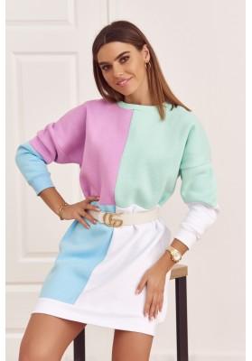 Bavlněná tunika s barevnými vsadkami as půlkruhovým výstřihem, fialová