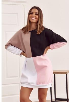 Bavlněná tunika s barevnými vsadkami as půlkruhovým výstřihem, béžová
