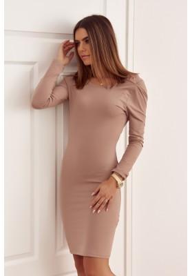 Bavlněné šaty s výstřihem na zádech, béžové