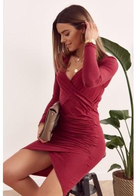 Šaty s výstřihem, dlouhým rukávem a asymetrickým střihem, bordó