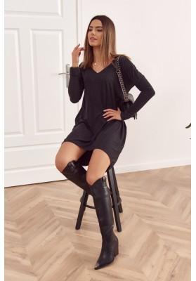 Oversize šaty s delším zadním dílem a výstřihem ve tvaru písmene V, černé