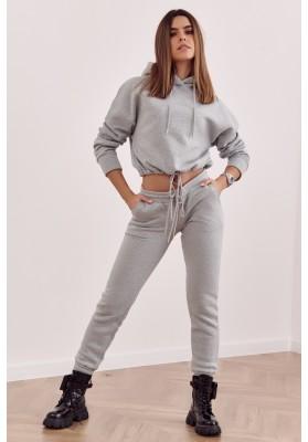 Stylová mikina a kalhoty s elastickým pasem, šedá