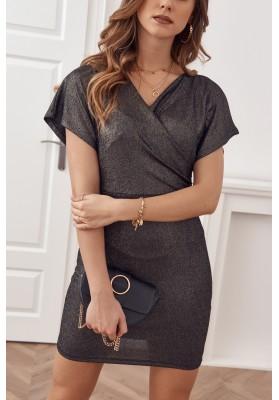 Černo-zlaté glamour šaty z nádherně třpytivého materiálu